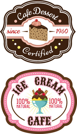 Sweet retro chocolate pie and ice cream emblems for cafe or restaurant menu design Vector