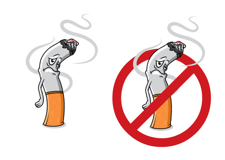 Cartoon sad cigarette butt character with fire, smoke and stop sign for health concept design