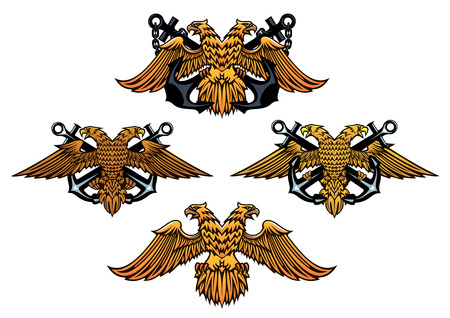Heraldic nautical emblems in retro medieval style with crossed anchors and eagles for marine and navy design Vector