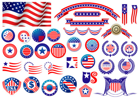 Red and blue patriotic American badges and labels with flag, banners, round labels, shields and wreaths in the colour and pattern of the Stars and Stripes