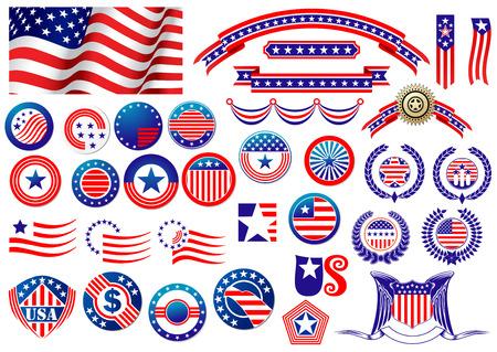 Azules insignias estadounidenses patrióticos y las etiquetas con la bandera, banderas, etiquetas redondas, escudos y coronas de flores en el color y el patrón de las barras y estrellas rojo y Ilustración de vector