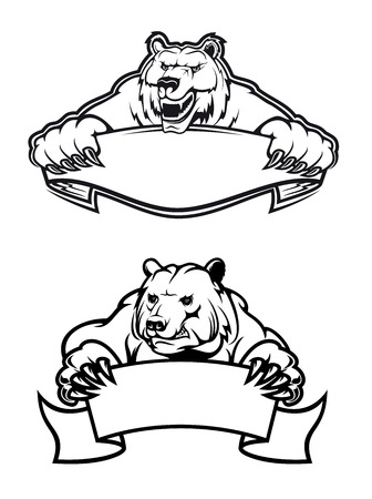 Strong angry bears with banners, isolated on white, for tattoo, wildlife and mascot design