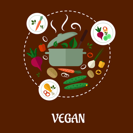 diet food: Vegetable flat icons food set of carrot, plate, hot pan, beet, pepper, cucumber, onion, chicken leg, potato, steam and green leaf for vegan infographic design Illustration