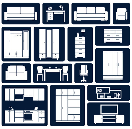 Furniture silhouette flat icons showing various sofas, chairs, desk, cupboards, wardrobes, cabinets and a television for interior design Vector