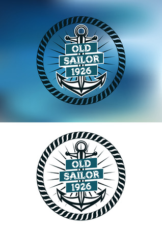 old boat: Nautical themed old sailor badge with the text Old Sailor 1926 over a ships anchor inside a circular rope frame on two different backgrounds