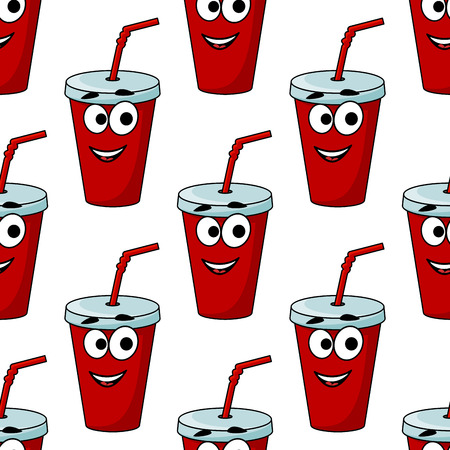 plastic straw: Cartoon takeaway beverage seamless pattern with a red plastic mug and straw with a happy face for fast food design