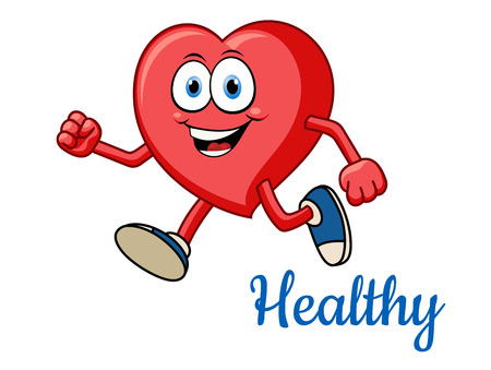 Running healthy red heart character for sporting and active lifestyle concept