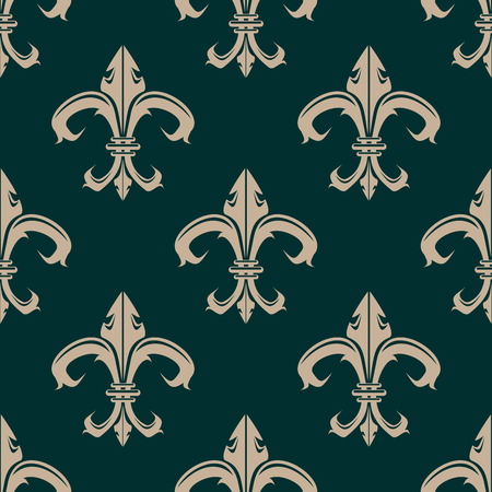 Classic Fleur de Lys beige seamless pattern in green background suitable for heraldry with a repeat vintage motif in square format