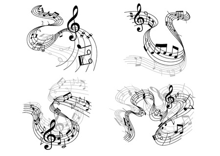 clefs: Abstract musical compositions depicting swirling staffs with clefs and music notes