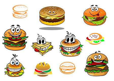 eating fast food: Happy takeaway cartoon hamburger characters for fast food design Illustration
