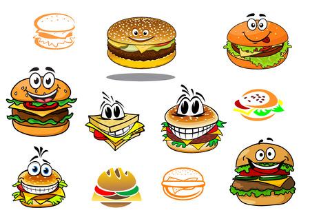 Personajes de dibujos animados de la hamburguesa para llevar felices para el diseño de la comida rápida