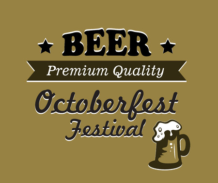overflowing: Oktoberfest beer poster design on a gold background with an overflowing tankard of frothy beer and text Beer Premium Quality Oktoberfest festival