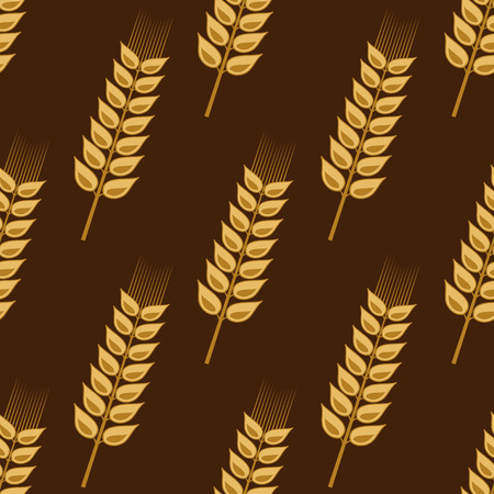 Seamless pattern of cereal golden wheat ears on brown background, for farming and agriculture industry Vector