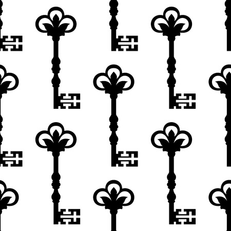 skeleton key: Old antique key seamless background pattern with a repeat black and white motif for vintage design