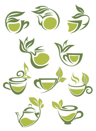 Green or herbal tea icons with leaves for fresh beverage design Vector