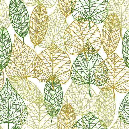 Delicate retro seamless background pattern of outline autumnal leaves in an overlapping repeat pattern