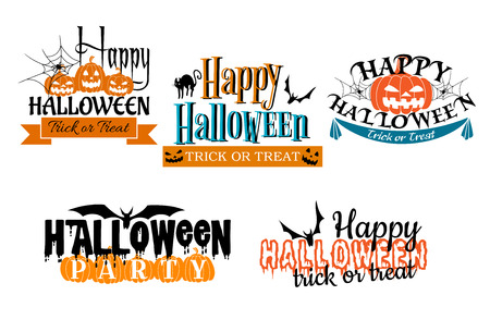 Halloween scary banners in cartoon  style with pumpkin, banner, flying bat, black cat, spider and trick or treat sign Vector