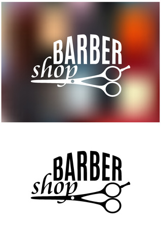 Barber shop sign design with curving text over a pair of scissors