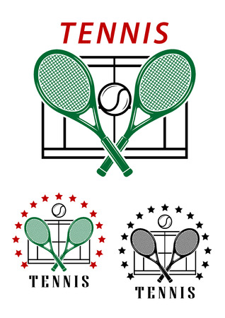 backhand: Big tennis emblems or badges with crossed rackets over a court with the text Tennis two designs surrounded by a circle of stars illustration