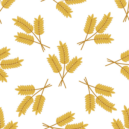 Seamless background pattern of golden cartoon barley or wheat ears arranged in bunches of three in square format illustration on white Vector