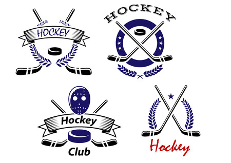hockey stick: Hockey Club and team emblems with crossed sticks and a puck with wreaths or ribbon banners with text Hockey or Hockey Club