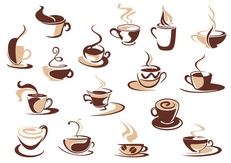 Coffee cup icons in shades of brown with doodle sketches of steaming cups of coffee, cappuccino and espresso Çizim