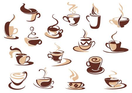capuchinos: Iconos taza de café en tonos de marrón con bocetos del doodle de tazas humeantes de café, capuchino y café expreso