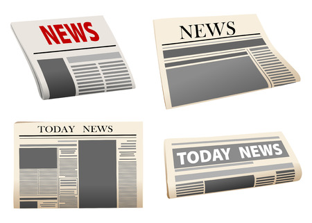 folded newspaper: Four different folded newspaper icons with print mock-up headed News or Todays News, isolated on white