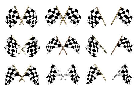 Ensemble de drapeaux à damiers noir et blanc utilisés dans le sport automobile avec six modèles différents croisés et six drapeaux simples montrant différents mouvements agitant du textile