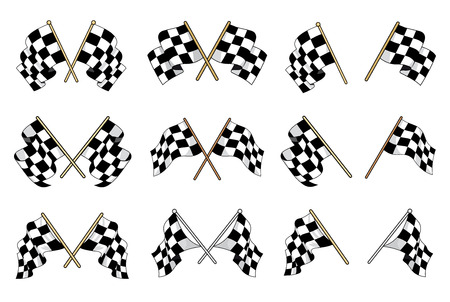Set of black and white checkered flags used in motor sport with six different crossed designs and six single flags showing different waving motions of the textile