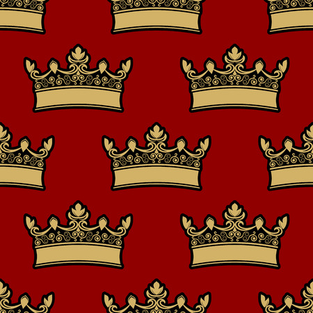 Heraldic crown seamless background pattern with a repeat motif of a gold crown on a red background illustration Vector