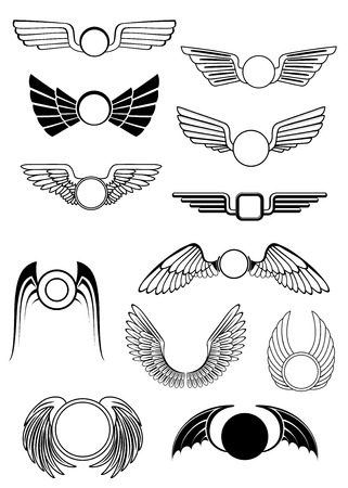 drooping: Heraldic wings set in various styles with wings open in flight, drooping wings and raised wings, some stylized others showing feather detail