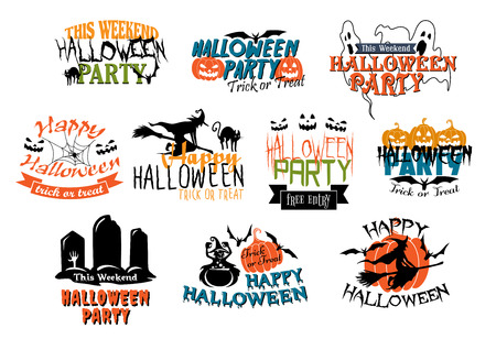 ghouls: Set of Halloween party and Happy Halloween designs with various texts decorated with black cats, ghouls, ghosts, bats, witches, gravestones, jack-o-lantern pumpkins and spiders
