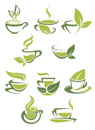 Collection of green or organic tea icons with doodle sketches in shades of green of steaming cups of tea each incorporating a leaf into the design for bio or eco concepts