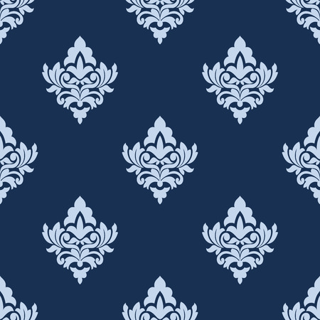 blue damask: Pretty blue damask style arabesque pattern with repeat floral and foliate motifs in square format for wallpaper or textile