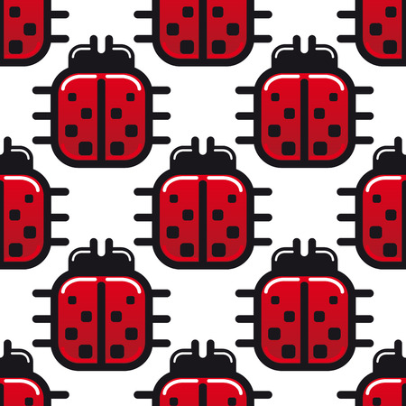 Stylized red and black spotted ladybird or ladybug seamless pattern with square bodies viewed from above in a repeat motif in square format Vector