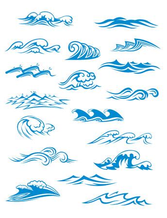 Océano o al mar las olas, olas y salpicaduras conjunto de curling y romper en un azul turquesa bonita para ilustración conceptos temáticos náuticos marino y en blanco