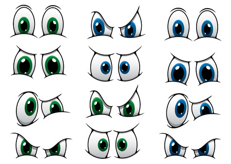 Set of cartoon eyes with blue and green irises showing various expressions from anger, through surprise to a frown Illustration