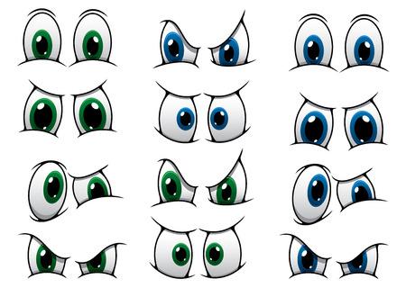 oči: Sada kreslených očí modré a zelené duhovky znázorňující různé výrazy z hněvu, přes překvapení na zamračení