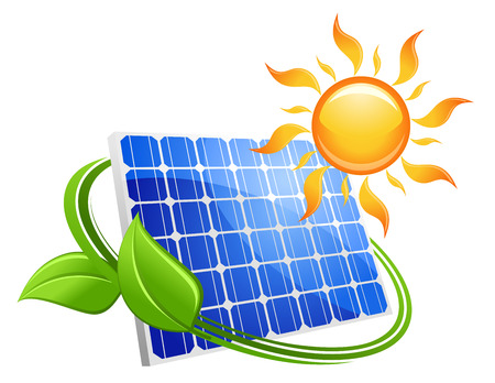 solar battery: Solar energy eco concept with a blue photovoltaic panel under a hot yellow sun with curling green leaves illustration on white