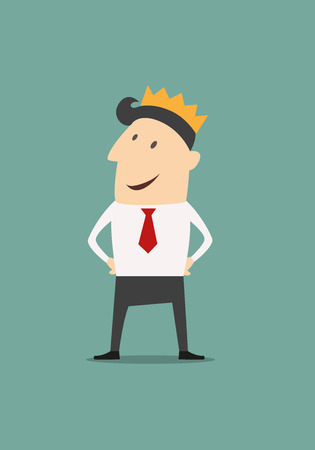 Cartoon businessman wearing a crown in a concept of success, achievement and promotion illustration Vector