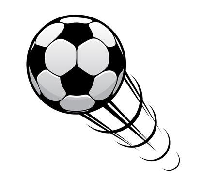 Pallone da calcio o di calcio eccesso di velocità attraverso l'aria con anelli di movimento e una pista di velocità Archivio Fotografico - 32438497