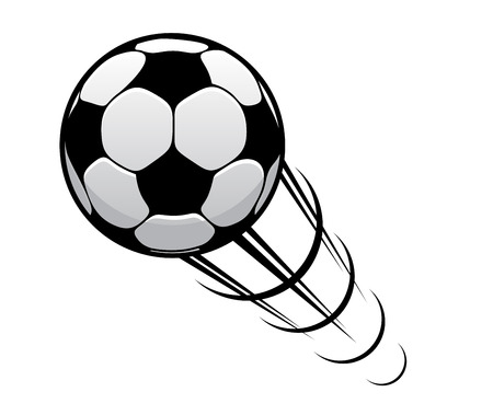 soccer field: Soccer ball or football speeding through the air with motion rings and a speed trail