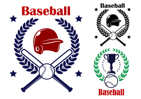 Three Baseball emblems or badges inside circular laurel wreaths, two with crossed bats, ball and helmet and one with a trophy and ball for sports design Vector