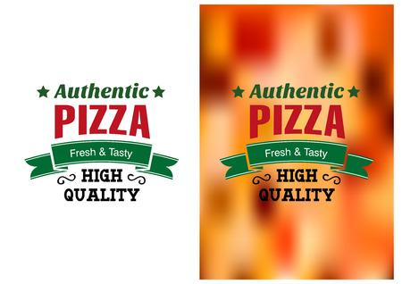 mozzarelle e formaggi: Due distintivi pizza o etichette con testo Authentic Pizza fresca e gustosa di alta qualit� uno su bianco e l'altro su una sfocata colorato la pizza topping Vettoriali