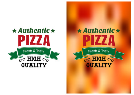pizza delivery: Two Pizza badges or labels with text Authentic Pizza Fresh and Tasty High Quality one over white and the other over a blurred colored pizza topping