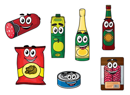 tinned: Cartoon supermarket groceries colored icons with happy smiling faces with salami, apple juice, champagne, beer, chips, tinned fish and sliced salami in a packet, on white