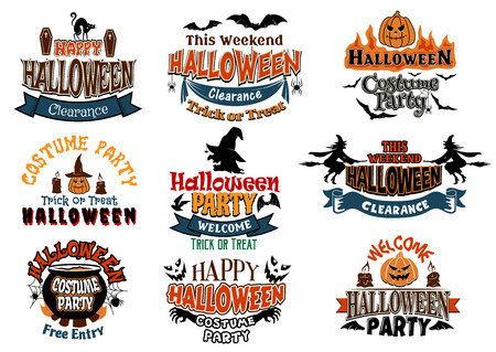 poltergeist: Large set of Halloween party designs with assorted text decorated with cats, bats, witches, pumpkins, ghosts, jack-o-lanterns and a cauldron Illustration