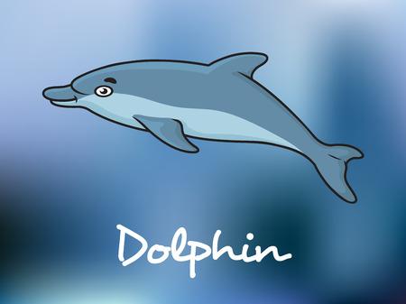 oceanography: Cute cartoon blu delfino nuoto in acqua dell'oceano con il Dolphin testo