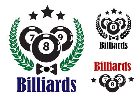 bola de billar: Billar insignias o emblemas para un juego de ocho bolas con tres bolas, guirnaldas, estrellas y texto Billar aislados en blanco Vectores